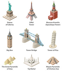 Fototapete - Famous world landmarks vector isometric high detailed isolated icons