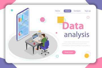 Flat isometric vector concept of business statistics and analytics, audit report, company performance analysis.