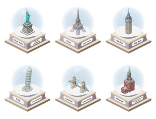 Fototapete - Vector 3d isometric snow globes with world famous landmarks inside. Collection of christmas illustrations isolated on white background