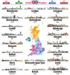 Fototapete - United Kingdom cities skylines icons. High detailed map of United Kingdom with countries and regions borders. All layers editable and labelled. Vector illustration