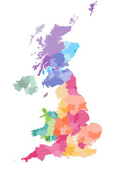 vector map of United Kingdom colored by countries and regions. Districts and counties map of England, Wales, Scotland and Northern Ireland