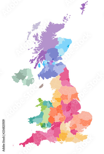 Vector Map Of United Kingdom Colored By Countries And Regions