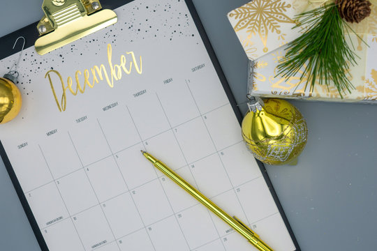 Top view of December calendar for planning holiday events