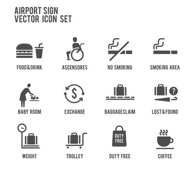 Airport Sign Direction Vector Icon Set. Included the icons as disable, lost and found, baggage calm, trolley, coffee, smoking area, duty free and more.