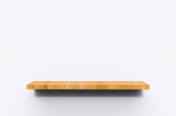 3D Illustration of floating shelf mounted on wall
