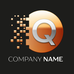 Realistic Silver Letter Q logo symbol in the golden colorful pixel circle shape with shattered blocks on black background. Vector template for your design