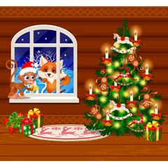Inside the old cozy wooden village house. Home furnishings. Christmas tree with gift boxes. Sketch of festive poster, party invitation, other holiday card. Vector cartoon close-up illustration.