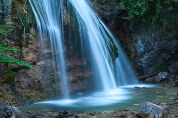 Beautiful waterfall Jur-Jur in the Crimea in the evening.