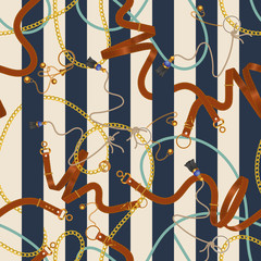 Seamless striped pattern with chains and belts. Vector patch for fabric, scarf.