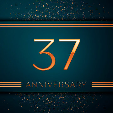 Realistic Thirty seven Years Anniversary Celebration design banner. Golden number and confetti on green background. Colorful Vector template elements for your birthday party