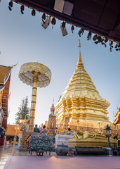 Wat Phra That Doi Suthep is famous visiting place and attraction of Chiang Mai, Thailand, Sunrise Doi Suthep Chiang Mai Thailand