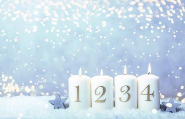 4. Advent Sonntag Hintergrund blau bokeh