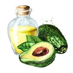 Fresh ripe avocado with essential oil, Watercolor hand drawn illustration, isolated on white background