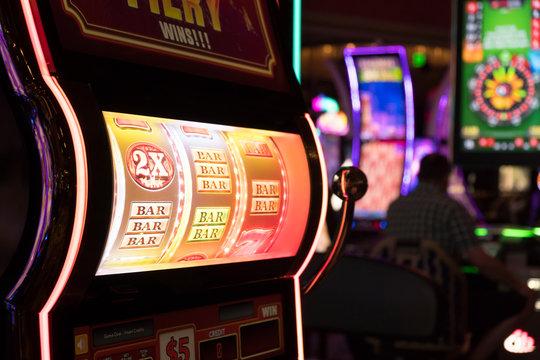 Close up of gaming slot machines in casino