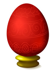 Illustration with easter egg on white background