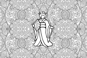 Adult coloring book page with silhouette of geisha