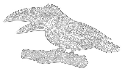 Beautiful coloring book art with stylized toucan