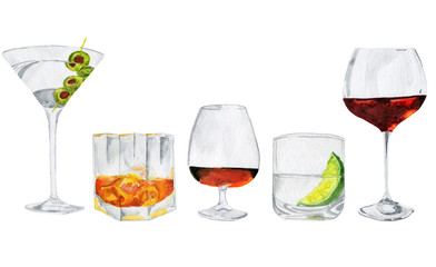 Five alcoholic drinks: martini, whiskey, brandy, wine and other. Watercolor illustration. White background. Light colors.
