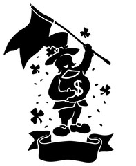 Isolated black silhouette of leprechaun with flag