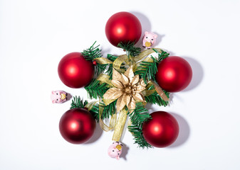 Christmas-tree decorations on a white background close-up