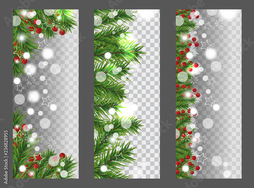 collection christmas and new year vertical banner with border or garland of christmas tree branches and
