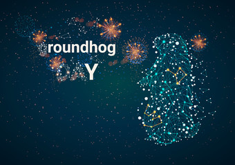 Happy Groundhog Day design with cute groundhog against the background of a starry sky.