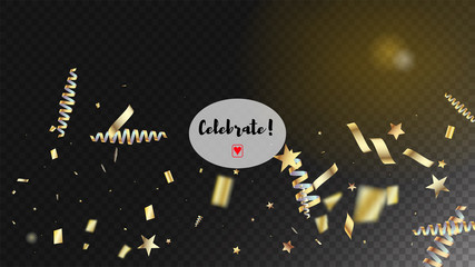 modern new year confetti realistic falling golden tinsel cool glamour christmas new year
