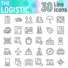 Logistic line icon set, delivery symbols collection, vector sketches, logo illustrations, shipping signs linear pictograms package isolated on white background.