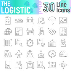 Logistic thin line icon set, delivery symbols collection, vector sketches, logo illustrations, shipping signs linear pictograms package isolated on white background.