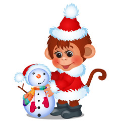 Cute monkey dressed as Santa Claus sculpts snowman isolated on a white background. Sketch of Christmas festive poster, party invitation, other holiday card. Vector cartoon close-up illustration.