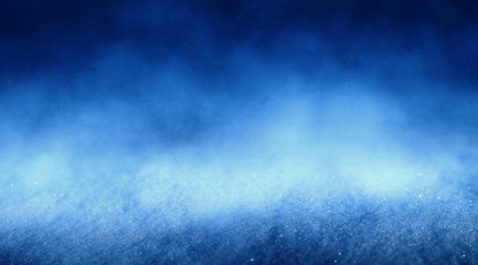 Blue abstract snow background, bokeh, smoke, glow