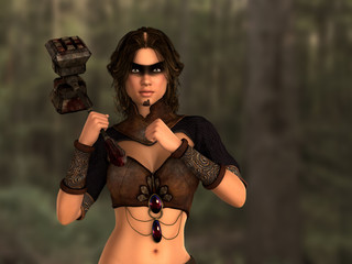 Woman warrior with hammer in hand. Forest in blurred background. Composite of photo and 3D rendering.