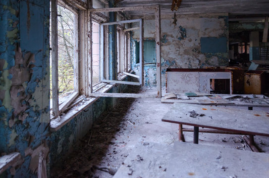 School in dead abandoned ghost town of Pripyat in Chernobyl nuclear power plant exclusion zone, Ukraine