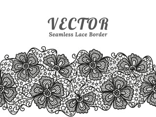 Black seamless lace border with flowers on white background