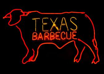 Aluminium Prints Texas Texas Barbecue neon with steer.