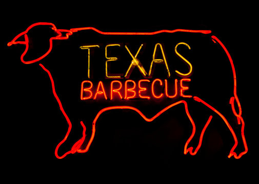 Texas Barbecue neon with steer.