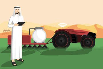 Etiqueta Engomada - Arab farmer with a tablet computer controls autonomous tractor.  Smart agriculture in desert. Vector illustration EPS 10