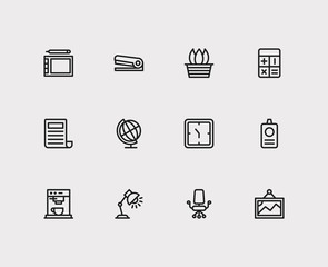 Workplace icons set. Calculator and workplace icons with globe, id and office chair. Set of drawing for web app logo UI design.