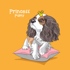 Cavalier King Charles Spaniel Puppy in a princess crown on a pink pillow and on a yellow background. Vector illustration.
