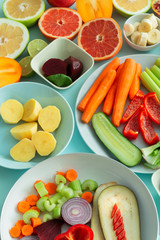 fresh healthy vegetables and fruits.