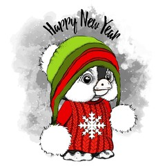 hand-drawn penguin in warm winter clothes. Funny penguin in a hat in the yard. Congratulatory postcard Merry Christmas and Happy New Year. Vector illustration