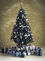 3D rendering of a Christmas tree with gifts under.