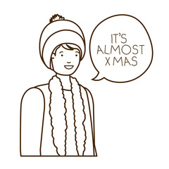 man with winter clothes and speech bubble