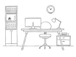 Sketch the room. Office chair, desk, various objects on the table. Sketch workspace.