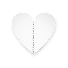 Valentine's Day tickets. White romantic ticket isolated on white background. Vector