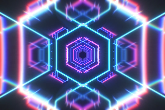 Abstract flight in a hexagonal tunnel in retro futuristic style, 3d illustration