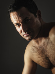 male portrait with hairy chest