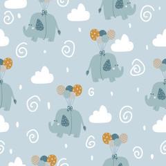 Modèle sans couture avec des éléphants mignons avec des ballons dans un style scandinave. Convient pour l& 39 impression sur tissu, vêtements de bébé, papier.