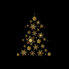 abstract christmas tree on black background