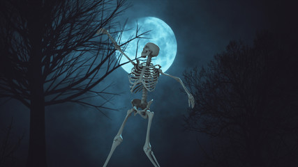 Dancing 3d skeleton on the background full moon night sky. moon light. clouds and moon ,beautiful nightly spooky 3d illustration